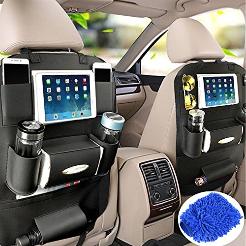 Fincy Palmoo PU Leather Car Back seat Organizer and iPad mini Holder, Back Seat Kick Protectors for Kids, Storage Bottles, Tissue Box, Toys