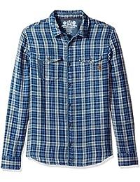 Men's Sabera Ss Regular Fit Washed Plaid Button Down Shirt