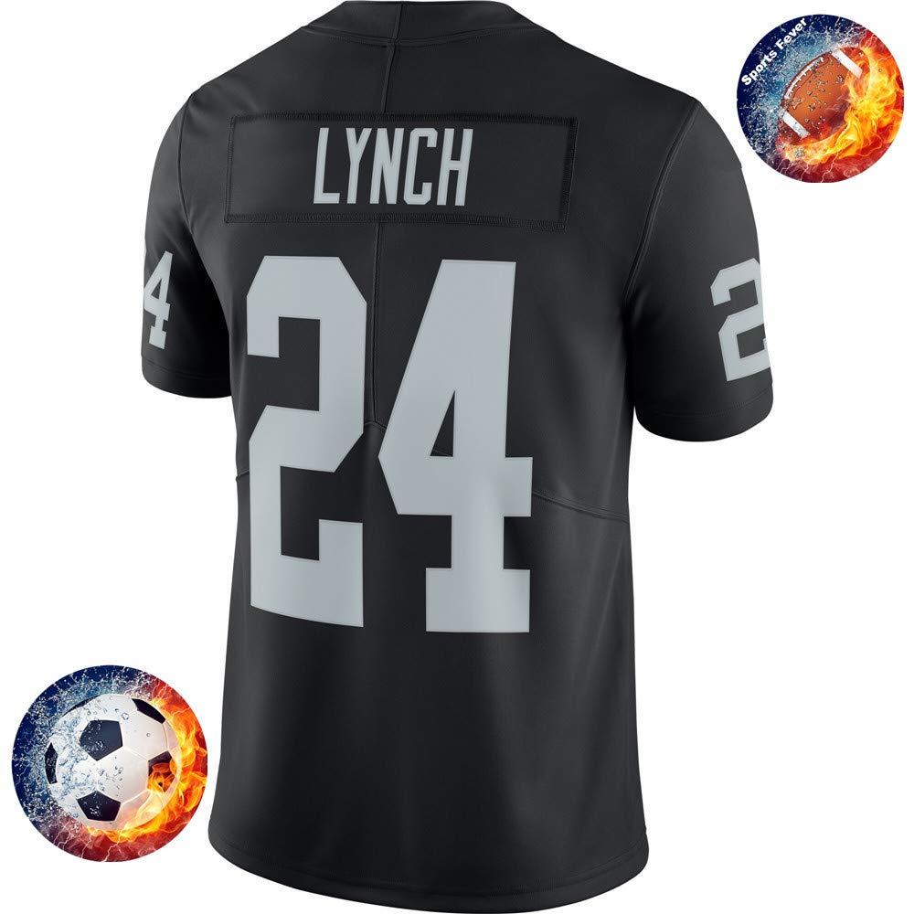 Fabric Fit Kurzarmhemden Herren/Damen Lynch NO. 24 Raiders Fans Sportkleidung T-Shirt Atmungsaktiv Fußballtrikots Schnell Trocken Jersey Heimtrikot