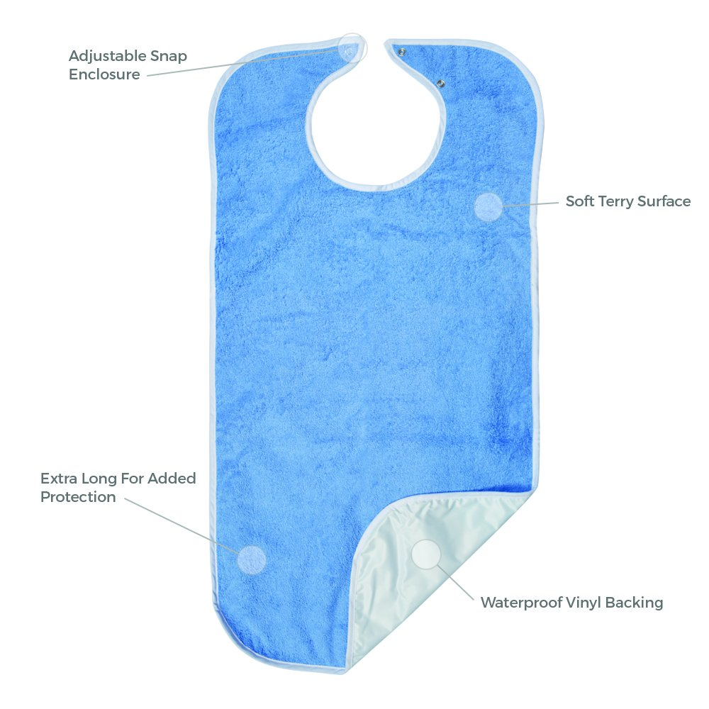 Priva Extra Long Adult Terry Bib With Protective Waterproof Backing, 18'' x 35'' by Priva (Image #3)