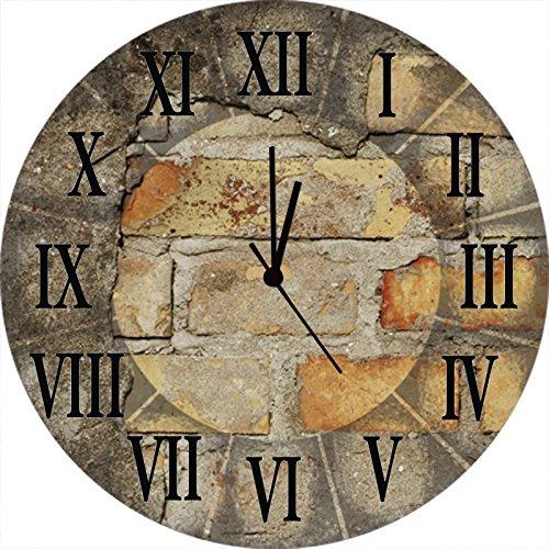 Artland Qualitätsuhren I Funk Wanduhr Designer Uhr Glas Funkuhr Größe: 35 Ø Architektonische Elemente Braun A5YF