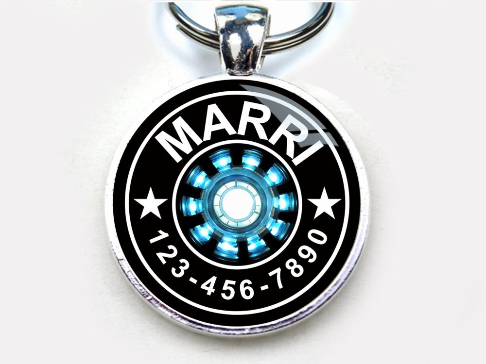 Iron Man Arc Reactor Custom pet ID Tag dog tag cat pet tag (Large 1.5'')