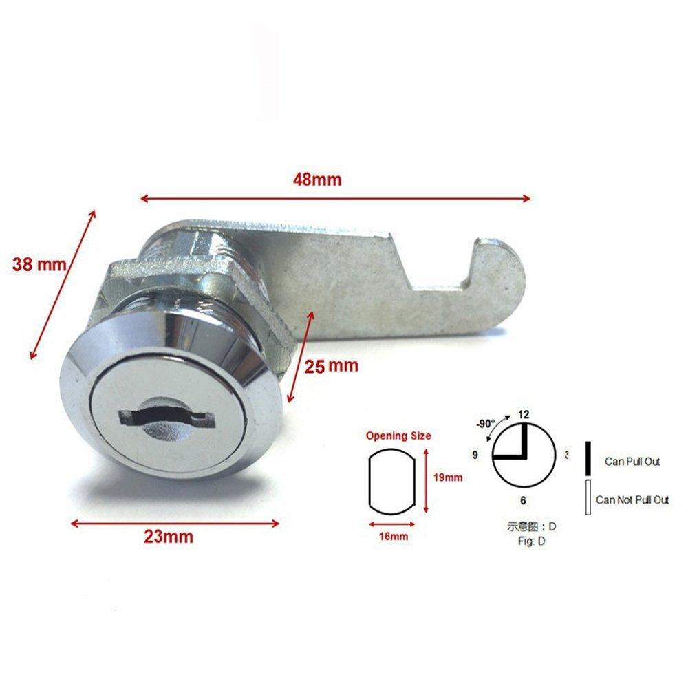 16mm, Keyed Alike Bonakula 5pcs//lot Cam Cylinder Lock Security Drawer Door Mailbox Cabinet Tool Box Lock 2 Keys Hardware Locks