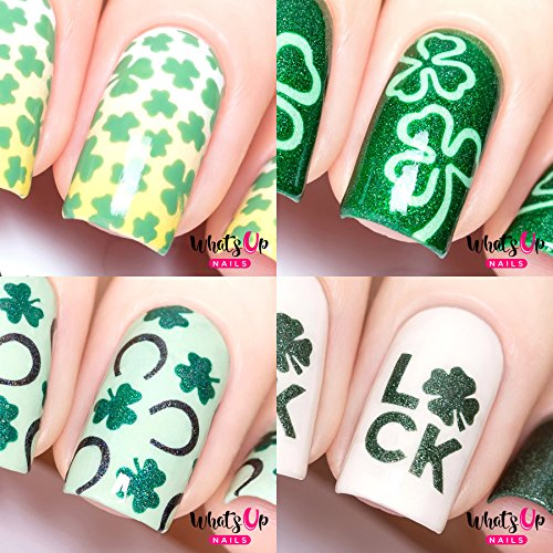 (Whats Up Nails - Saint Patrick's Day Nail Vinyl Stencils 4pcs (Clover Field, Shamrock, Saint Patrick's, Luck Nail Stencils) for Saint Patrick's Day Nail Art)
