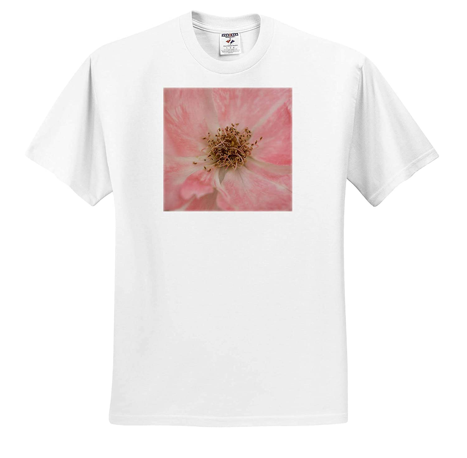 ts/_315581 Flowers 3dRose Stamp City Macro Photo of The Curly Stamens Among Pink Petals of a Rose - Adult T-Shirt XL