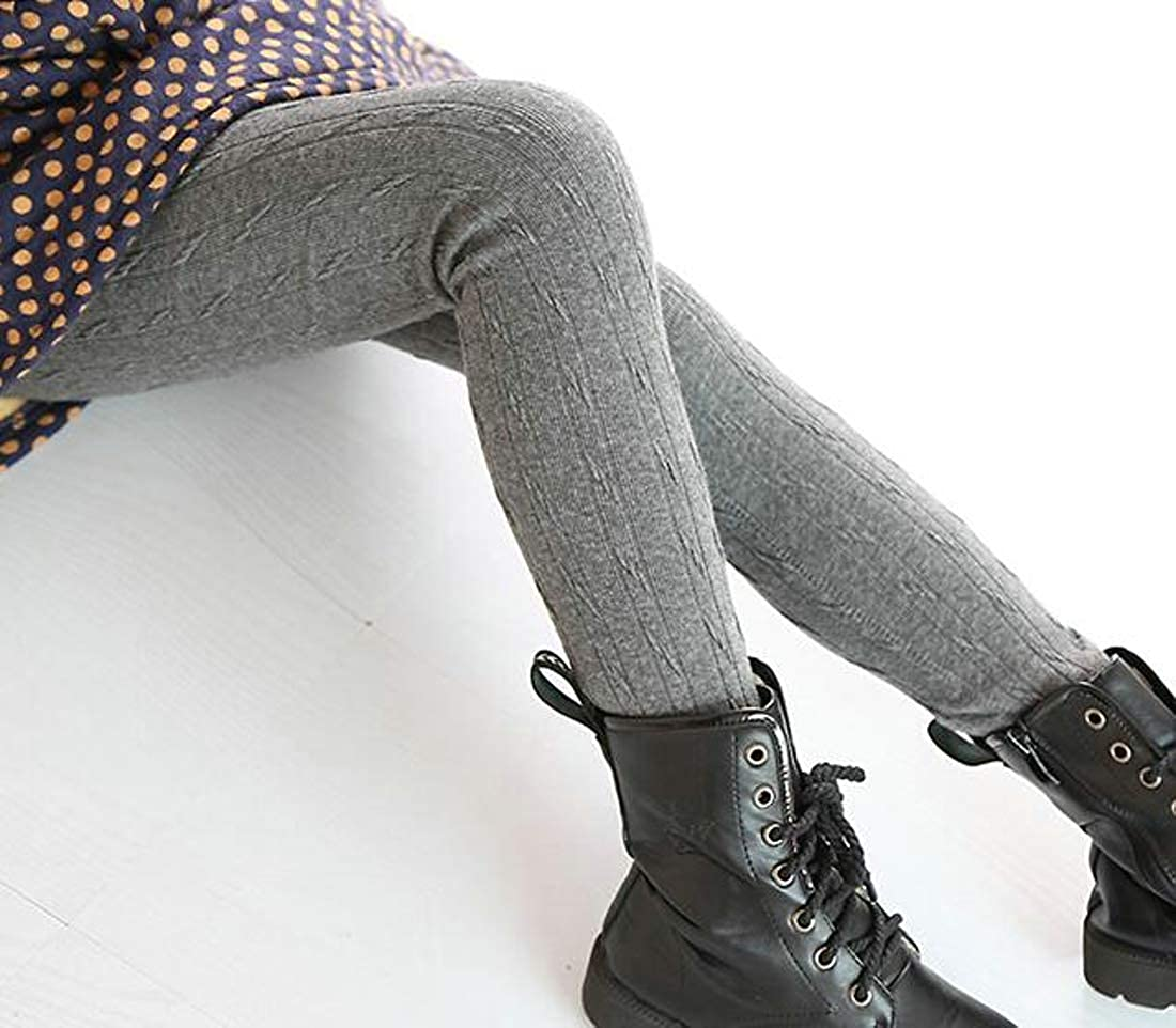 Joe Wenko Girl Knitted Stretchy Thicken Fleece Winter Fashion Pants Legging