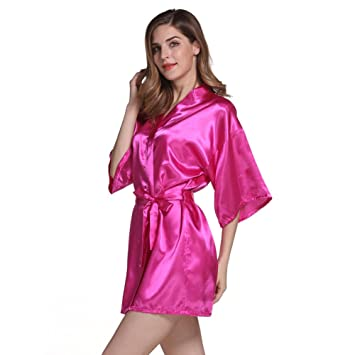 Free Fisher Mujer vestido pijama ropa de dormir Corto satén albornoz kimono Bata de Aspecto Brillante