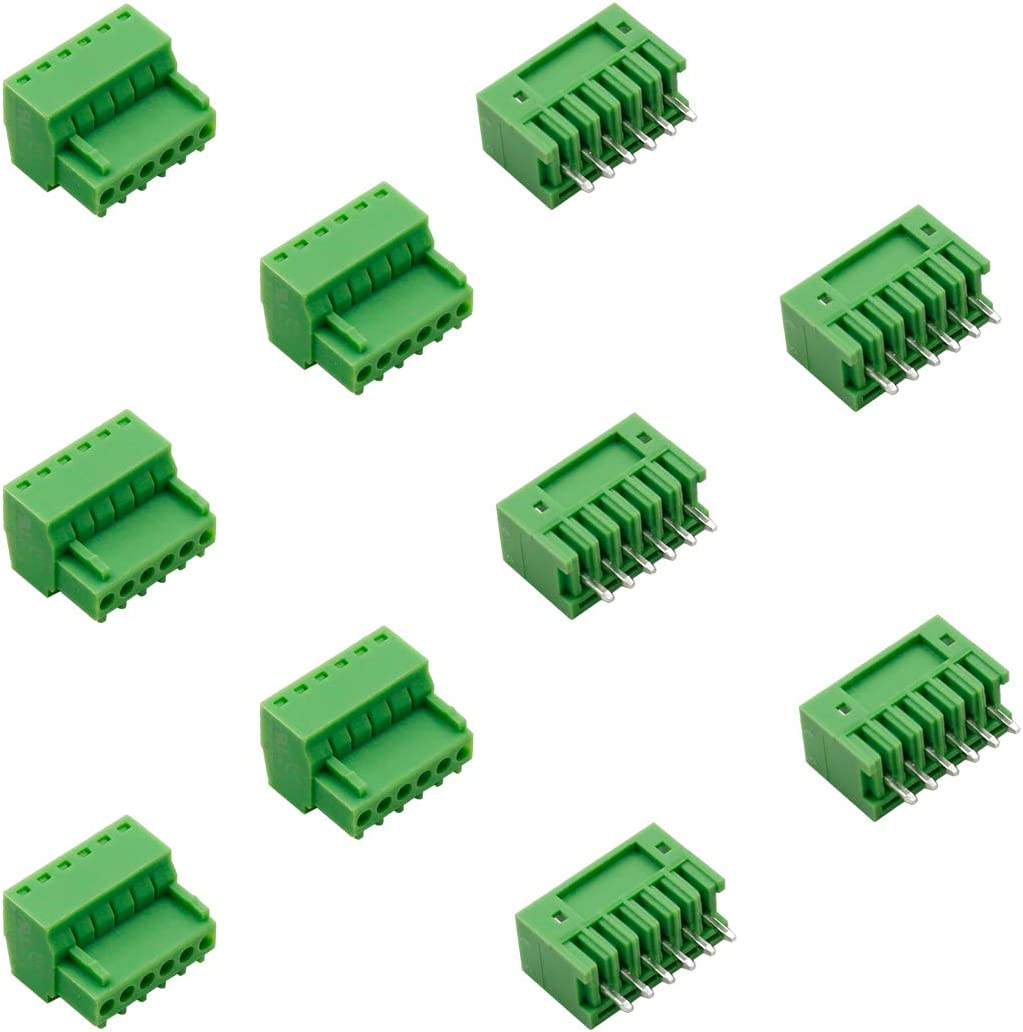 Hxchen 20 Sets 3Pin 3.5mm Pitch 2EDG Audio /& Video Accessories Straight Pin Female and Male PCB Pluggable Terminal Block Adapters AWG28-16 Green