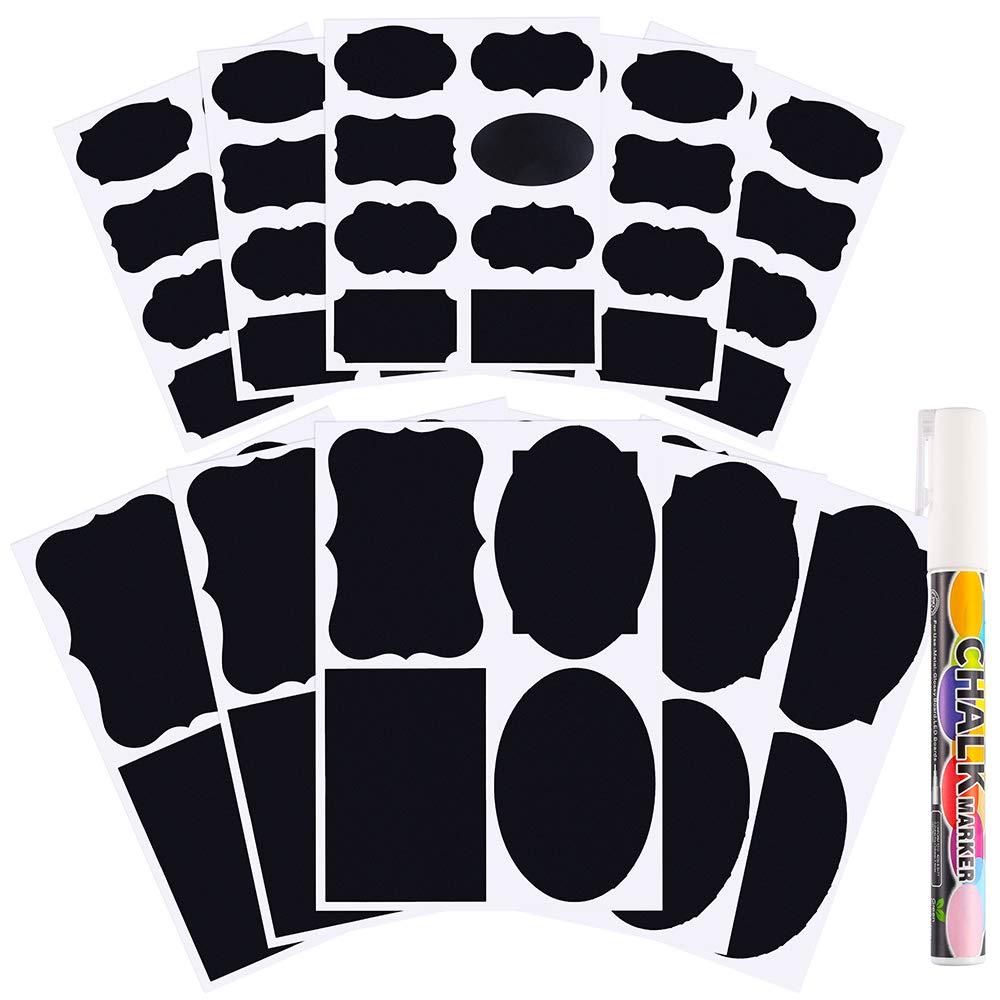 Pllieay 60pièces 2tailles Tableau noir étiquettes étanche réutilisable effaçable tableau noir autocollant avec 1pièce marqueur de craie pour Garde-manger de cuisine, bocaux de décoration, maison et le bureau