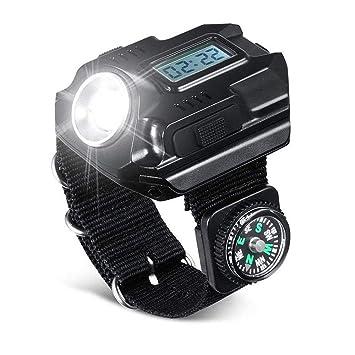 Super Bright poignet lumière LED, 5 W lampe de poche rechargeable étanche Wristlight montre avec