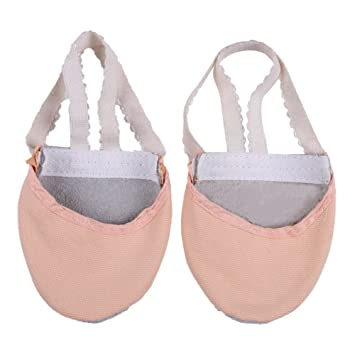 Rowentauk Ballet Canvas Dance Shoes Gymnastic Yoga Shoes Half Sole Leather  Girls Ladies Children s and Adult s 4339c61e83c27
