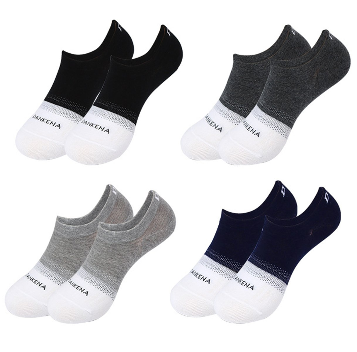 Spikerking Mens Cotton Low Cut No Show Casual Non-Slide Thin Socks 4 Pack,4 Pack-4 Color