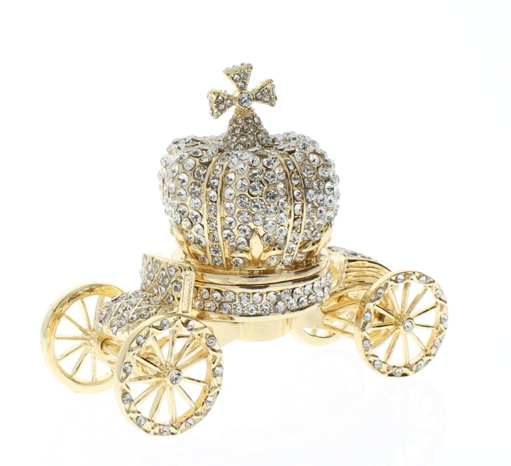 Crown Carriage Trinket Box, Swarovski Crystallized Over Pewter, Crown is Detachable from Carriage