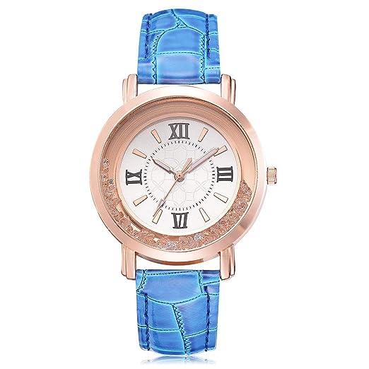 Loolik Relojes Mujer,Reloj de Cuarzo de Acero Inoxidable de Cuero de la Barrena de
