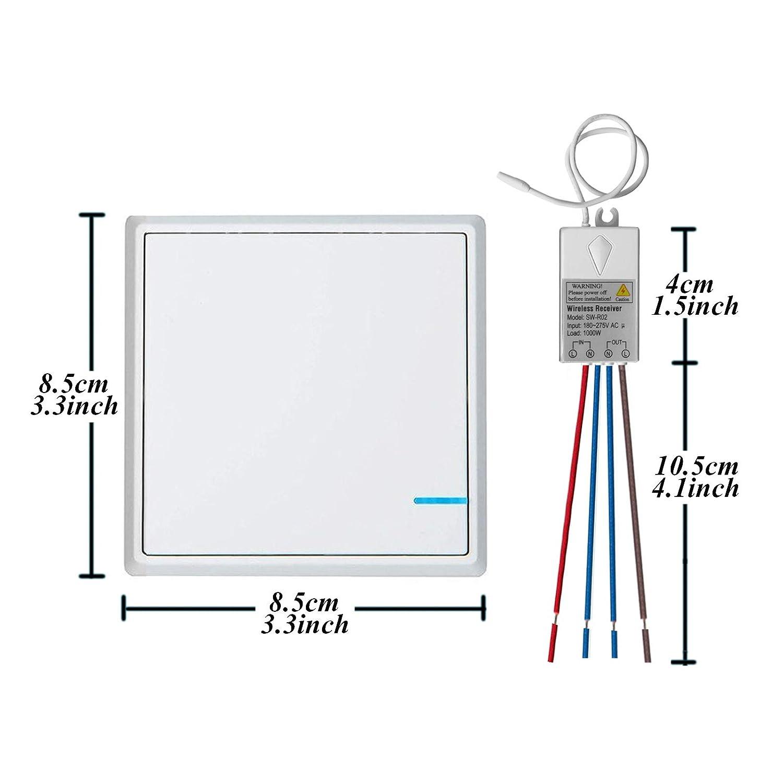Au/ßen 600m Drinnen 40m Schnell erstellen Ein//Aus Keine Leitungsverlegung RF 433Mhz Fernbedienung LED Lampen Birne TSSS Dual Funkschalter Lichtschalter mit Empf/änger LED Anzeige Licht Set