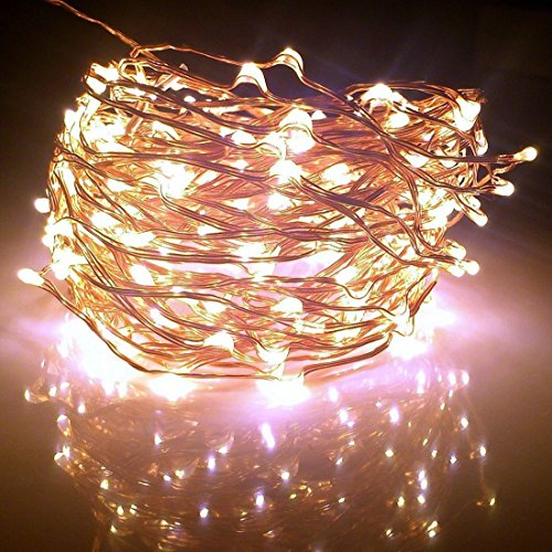 Fairy Lights XX-long 60 ft / 360 Leds. For Room Decorations and Outdoors. Soft Warm White Color Starry Lights on Copper Wire String. For USA, EU, and AU. (Hanging Sparkle Room Decor)