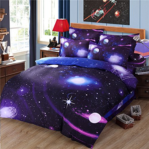 7 Blue Piece Bedding (Cliab Galaxy Bedding Purple Blue Full Size for Girls Kids Boys Outer Space Duvet Cover Set 7 Pieces(Fitted Sheet Included))