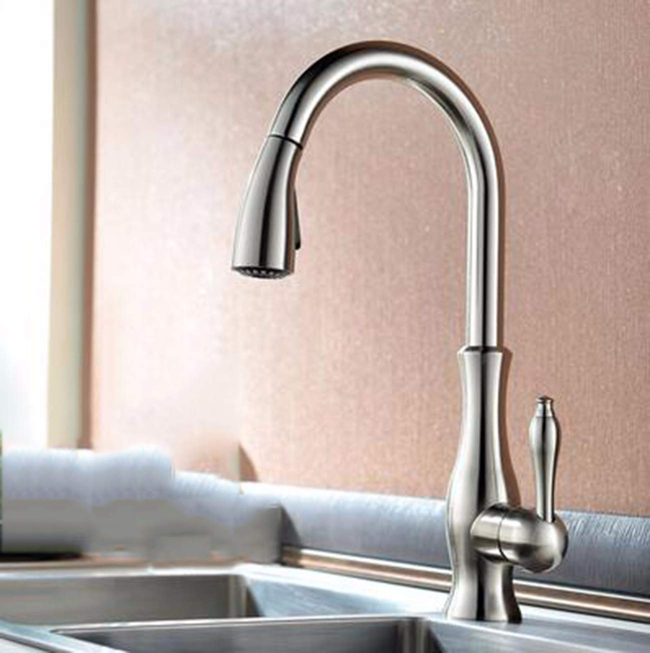 B XPYFaucet Faucet Tap Taps Pull-type kitchen hot and cold splash-proof telescopic copper redating sink home, C