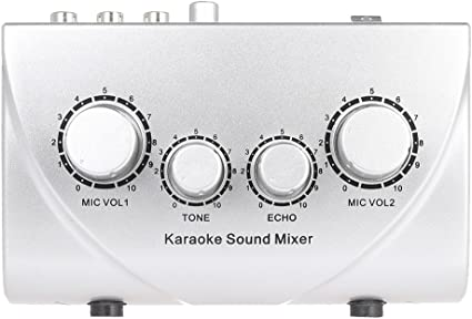 LEKATO F-8 Audio Mixer Sound Mini Karaoke Microphone Stereo Echo Mixer Dual Microphone Inputs Support BT Recording MP3 Function for TV PC Smartphone Amplifier