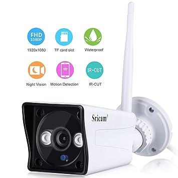 Sricam Cámara IP de Vigilancia inalámbrica 1080P WiFi Cámara de Seguridad al Aire Libre Interior H
