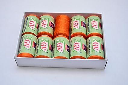 Silk Thread Orange Shiny 10 Spools For Embroidery Bangle Jhumka