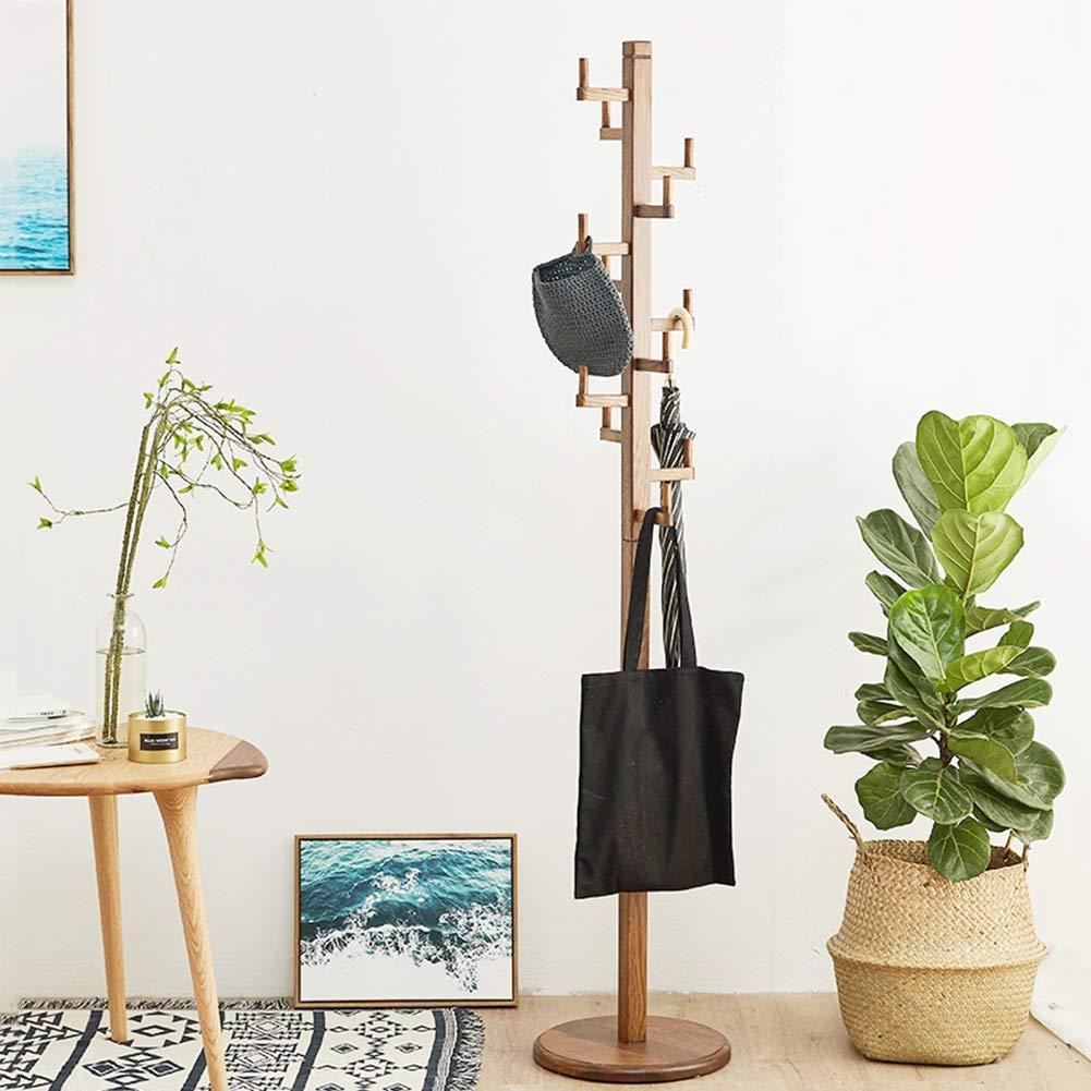 JIANFEI Durable Perchero De Pie Teniendo Fuerte Fondo Estable, 2 Colores 3 Tipos 36x36x185cm Muebles Interiores Simples (Color : B-Solid Wood, Tamaño : 36x36x185cm)