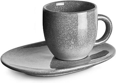 Misty Cliff Steingut-Espressotassen mit Unterteller