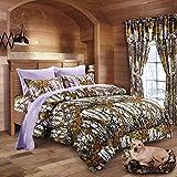 20 Lakes Woodland Hunter Camo Comforter, Sheet, Pillowcase Set (Twin, White & Purple)