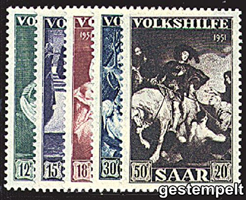 Goldhahn Saar Nr. 309-313 gestempelt