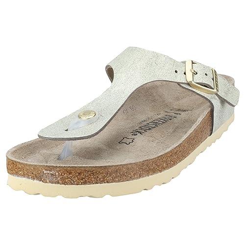 01a18f1e3bb Birkenstock Gizeh Washed Metallic Narrow Womens Sandals Green Gold - 36 EU