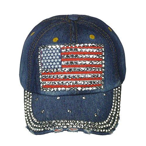 Women's Crystal USA Flag with Crystal Brim Visor Baseball Cap - Dark Denim