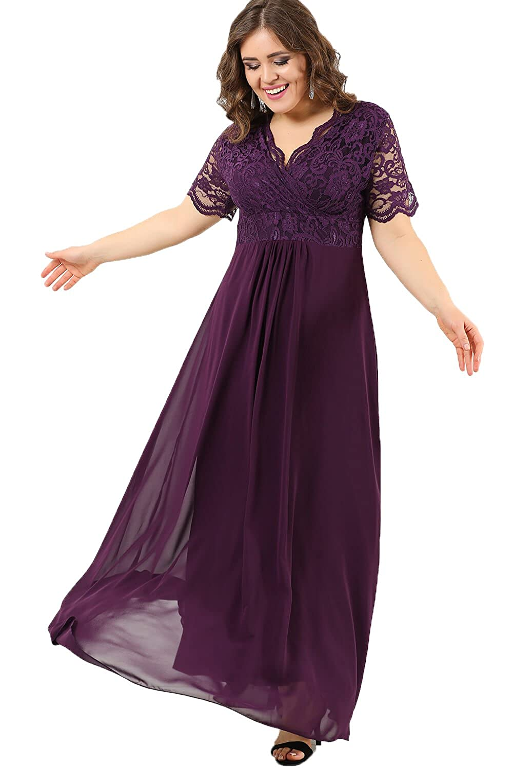 14f47c6c8 Angelino Boutique Plus Size Women's Full Lace Fabric Top Guipure Short  Sleeve Evening Dress Purple DD793 at Amazon Women's Clothing store: