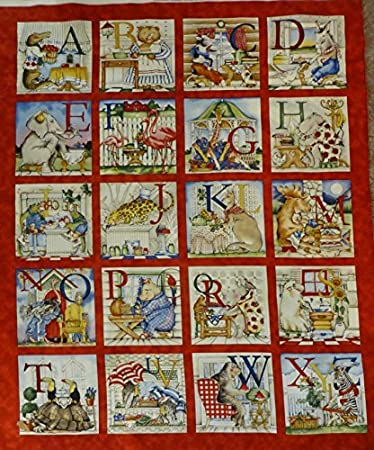 Amazoncom Hungry Animal Alphabet Panel Cotton Fabric Quilting
