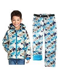 Tortor 1Bacha Boys Sportwear Waterproof 2 PC Ski Set Jacket Pants Dinosaur