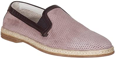 25b43ea167440 Dolce & Gabbana Men's Suede Perforated Loafers Slip On Flats Shoes, Beige,  US 8