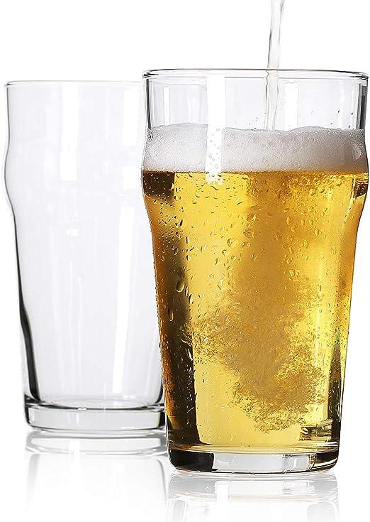 Vasos de pinta, estilo británico Imperial Beer (juego de 2), estilo pub inglés Ale Glassware, diseño único, fácil de apilar en el armario: Amazon.es: Hogar