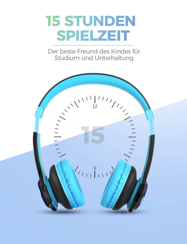 blau + pink Faltbar AUX 3,5 mm Klinke 85dB Lautst/ärke begrenzt Kinder Kopfh/örer Bluetooth Zwei Packungen LED-Licht eingebautes Mikrofon einstellbar CH9 kopfh/örer Kinder