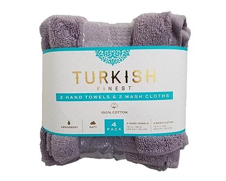 Turkish Finest Toallas de mano turcas de lujo 2 y 2 paños de lavado, super