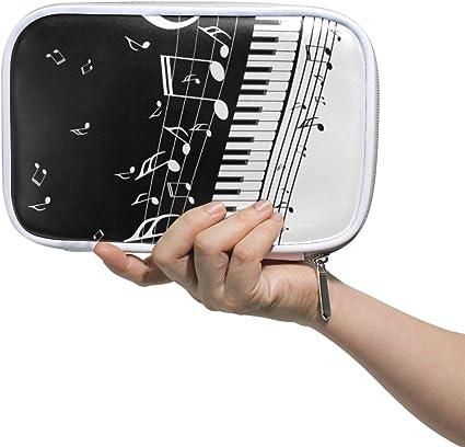 Estuche de lápices Bolso cosmético de cuero Teclas de piano abstractas con organizador de notas musicales Gran capacidad para la escuela de viajes: Amazon.es: Oficina y papelería