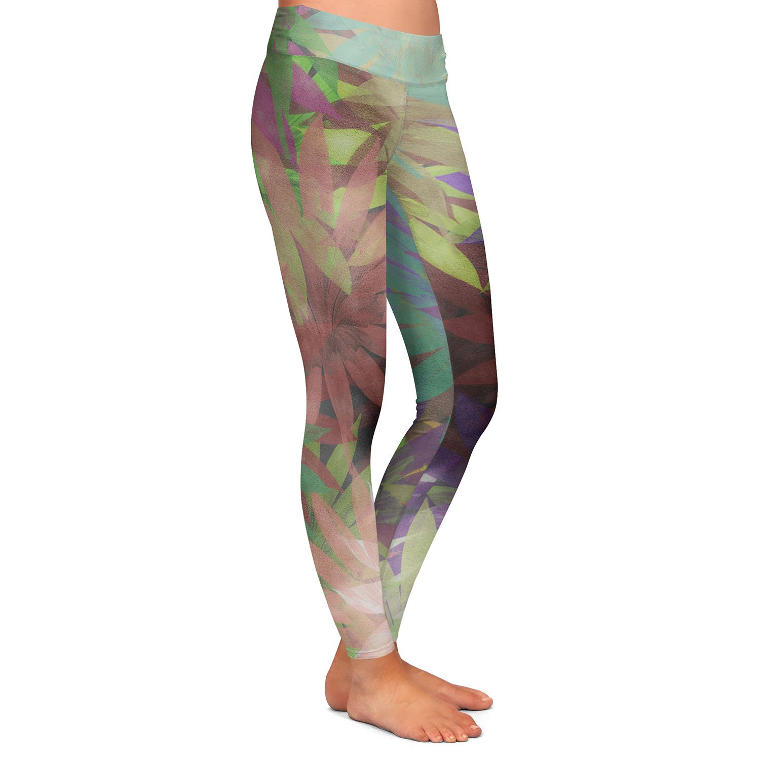 Athletic Yoga Leggings from DiaNoche Designs by Pam Amos Forest Flowers 2