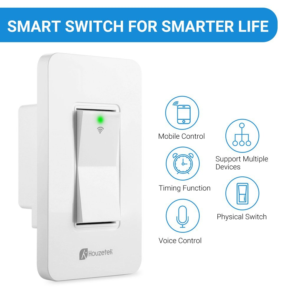 Smart Wall Switch, Houzetek Wireless Wifi Light Switch with Timing Function and Remote Control, Work with Amazon Alexa/Google Home/IFTTT, No Hub Required (PS15SA) by Houzetek (Image #2)