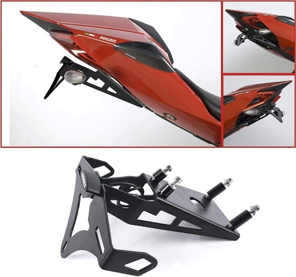 Color : Black Support Plaque for Ducati Panigale 899 959 1199 1199S 1299 1299S Moto Plaque dimmatriculation Support License Support Tail Tidy Fender Eliminator