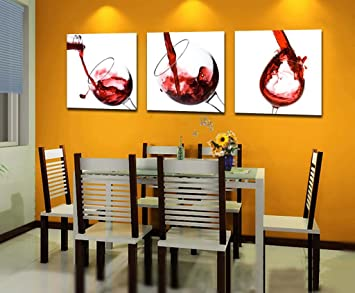dining room wall art amazon. espritte art-large red wine glasses, picture painting on canvas print without framed, dining room wall art amazon u