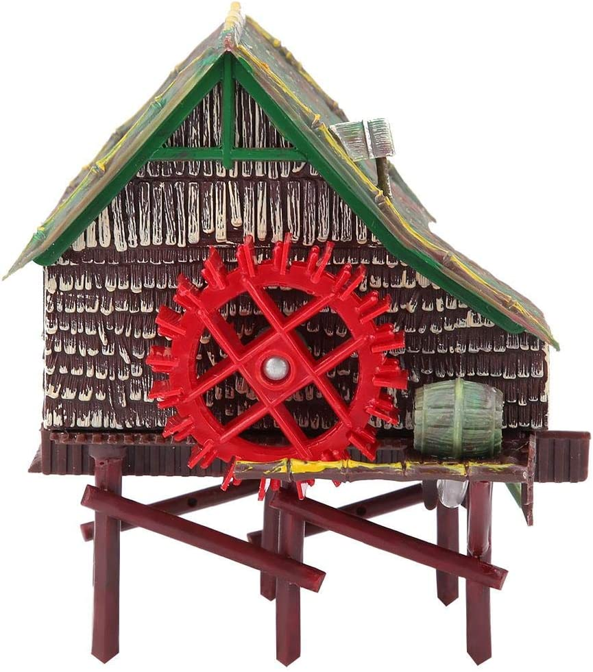 Fish Tank Landscaping Decoration Pneumatic Aerated Waterwheel Hut