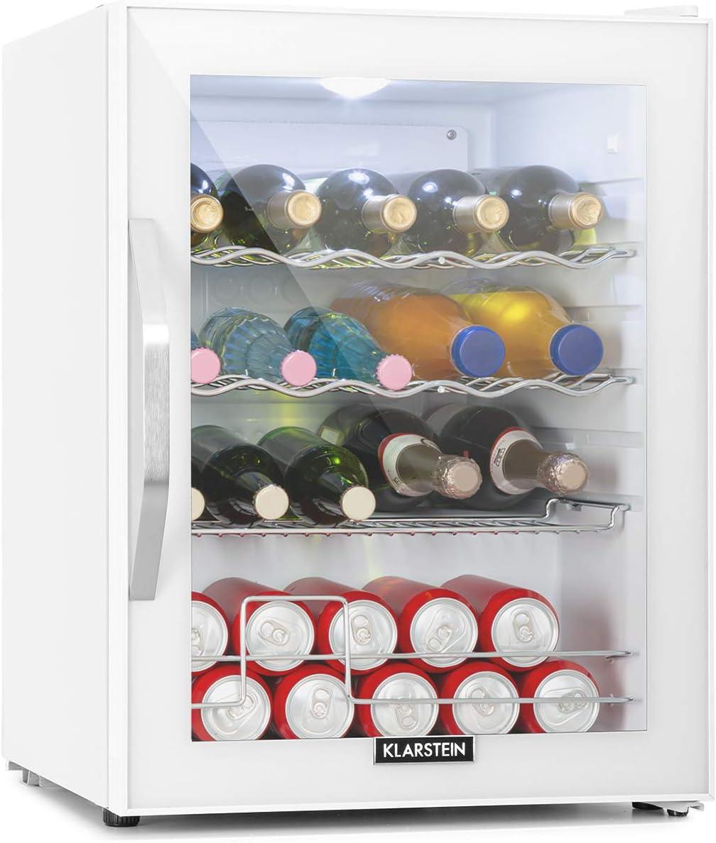 Klarstein Beersafe XL Quartz - Refrigerador de bebidas, Nevera, 60 litros de capacidad, Eficiencia energética de clase A++, Puerta frontal de vidrio, Iluminación interior, Diseño compacto, Blanco