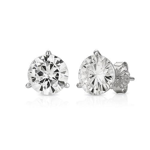 Forever Brilliant 14K White Gold Round Moissanite Three Prong Stud Earrings by Charles Colvard