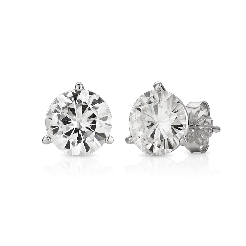 Forever Brilliant White Gold 8.0mm Round Moissanite Stud Earrings, 3.80cttw DEW By Charles & Colvard