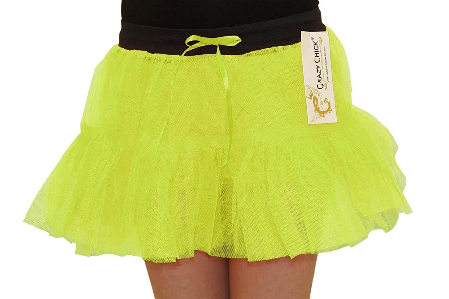 Rimi Hanger Womens 1980s 2 Layers Neon Colour Tutu Skirts