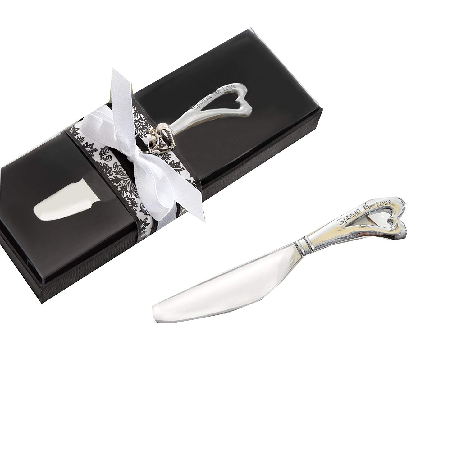 120 Kate Aspen Silver''Spread The Love'' Chrome Spreader with Heart-Shaped Handle Wedding Favors by Kate Aspen
