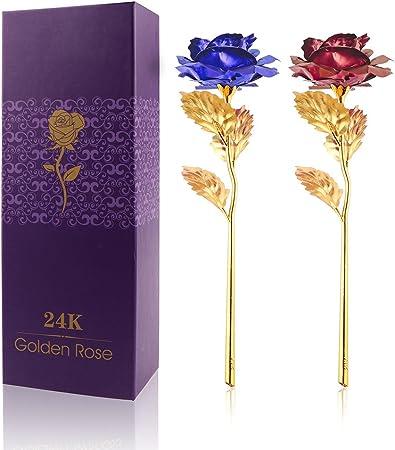 Vingtank 2 Pack 24K Gold Suipped Real Rose con Caja de Regalo ...